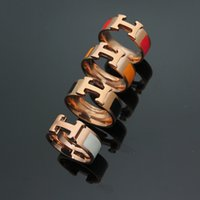 Wholesale White Gold Enamel Rings - Classical Trendy Jewelry Enamel Black White Orange Pink Red Women Men Rose gold plated belt Buckle love H Letter Jewelry brand Rings