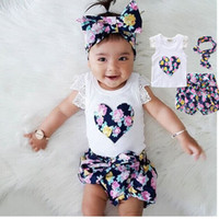 Wholesale hair clothes for girls resale online - Summer kids baby girl loving heart outfits clothes cute fashion T shirt printing hair band tops pans fit for years old children set