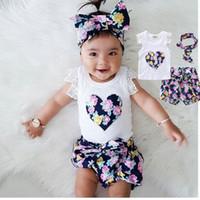 bebek kıyafeti saç bantları toptan satış-Yaz çocuklar bebek kız sevgi dolu kalp kıyafetler giyim sevimli moda T-shirt baskı saç bandı üstleri + tavalar 3-8years eski çocuklar için fit 2 adet set
