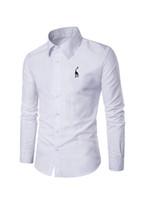 camisas de vestir de manga larga bordadas al por mayor-2018 recién llegado para hombre camisas de vestir Usegiraffe hombres moda manga larga negocio camisa formal Casual Camisa logotipo bordado