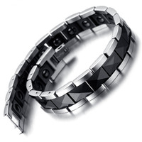 Wholesale mens tungsten chains for sale - Group buy Tungsten Magnetic Hematite Mens Bracelet Black Silver KB2185