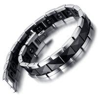 mens manyetik toptan satış-Tungsten Manyetik Hematit Erkek Bileklik, Siyah Gümüş 8.2
