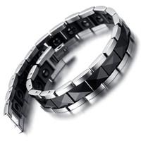 armband wolfram großhandel-Wolfram-magnetischer Hämatit-Herrenarmband, Schwarzes Silber 8,2