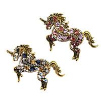 ingrosso fascino animale del rhinestone-2 pezzi di strass unicorno in esecuzione di unicorno spilla pin gioielli animali costume fascini del distintivo
