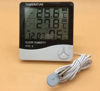 termómetros interiores al por mayor-Termómetro digital LCD Higrómetro Temperatura Electrónica Medidor de Humedad Estación Meteorológica Probador de Reloj de Alarma Interior Exterior HTC-2 DDA704