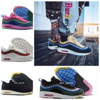 caixas de sapatos grátis venda por atacado-chaussures nike air max 1/97 97 Sean Wotherspoon VF SW Híbrido Melhor qualidade Running Shoes Com Caixa 97 Sapatas Das Mulheres Dos Homens frete grátis