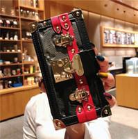 strass nieten großhandel-Niet-echtes Leder-Geldbörsen-Kupplungs-Kasten-Geldbeutel-Holster-Telefon-Abdeckungs-Schulter-Bügel-Abzuglinie für iPhone 6.1 6.5 4.7 5.5
