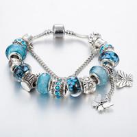 pulsera de encanto 17cm al por mayor-17 cm a 21 cm 925 chapado en plata de ley borla mariposa pulsera colgante para pulseras de cadena Pandora serpiente de plata