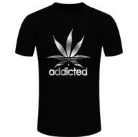 ingrosso camicia a foglia d'acero-Maple Leaf nero uomo t-shirt in cotone addicted casual O-Collo tee shirt per uomo estate manica corta abbigliamento divertente magliette D20