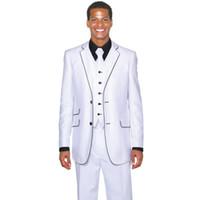 ingrosso tuxedos dello sposo del giro del tacco bianco-Smoking Custom Groom Tuxedo Two Buttons Groomsmen bianco Notch Risvolto Abiti da sposa Best Men Vestito da sposo (Jacket + Pants + Tie + Vest)