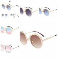 Wholesale Vintage Hippie Sunglasses - Round Sunglasses Golden Frame Glasses Multi Color Vintage Designer Shades Hippie Steampunk Men Color Gradient LJJD10