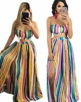 renk topları toptan satış-Sexy Lady İki Adet Elbise, Straplez Üst, Güzel Bölünmüş Balo Elbiseler, Güzellik Çizgili Baskı, İki Renk
