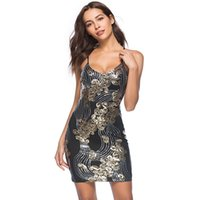 e4e2dd637438 Women's Sexy Sequin dress V-Neck Bodycon Sexy Cocktail party Dress Shining  luxury Christmas Clothes New year Strap Dress Size S M L XL XXL