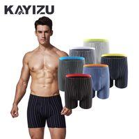 Wholesale Male Sleepwear Underwear - 6pcs lot KAYIZU Brand Men's Underwear Striped Soft Male Boxer Shorts Pouch Sleepwear Men Panties Underpants Bermuda Masculina
