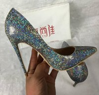Wholesale Sexy Bling Shoes - Purple Glitter Wedding Shoes 2018 Autumn womens pumps bling bling sexy stiletto high heels zapatos de mujer+dust bag+ box