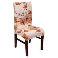 Wholesale butterfly seat covers online - Hyha Butterfly Printing Dining Chair Cover Spandex Elastic Chair Protector Slipcover Removable Dustproof Decorative Seat Case