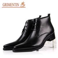 оранжевые формальные туфли оптовых-GRIMENTIN горячие продажи итальянская мода мужчины сапоги из натуральной кожи черный оранжевый формальные мужские ботильоны бренд платье свадьба большой размер Мужская обувь