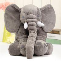 Wholesale jumbo plush stuffed animals - Cartoon 60cm Cute Jumbo Elephant Plush Doll Stuffed Animal Sleeping Back Cushion Stuffed Pillow Elephant Doll Baby Pillow