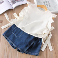 Wholesale Holiday Girls Outfits - Everweekend Girls Bow Ruffles White Tees with Pocket Denim Pants 2 pcs Set Lovely Kids Leisure Style Summer Holiday Outfit