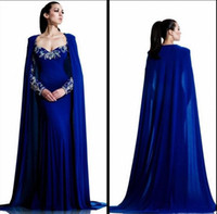 Wholesale trendy chiffon dresses - Trendy Royal Blue Arabic Evening Dresses With Cape Long Sleeve Dubai Beads Crystal Vestidos De Festa Party Formal Pageant Celebrity Gowns