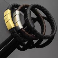 gewebtes gold leder armband großhandel-Top-Qualität Mont Woven Lederarmbänder mit gold Schnalle Design für Männer magnetische Snap Armband Marke namens Modeschmuck.