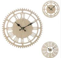 ingrosso orologi rustici a casa-Numeri romani Vintage rustico orologio da parete in legno Orologio da parete rotondo in legno Soggiorno camera da letto Home Decor
