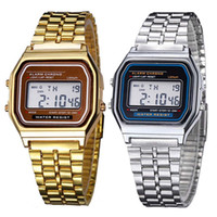 Wholesale Glass Alarm - Unisex Watch Business gold Coperation Vintage Woman Watch Men Stainless Steel Digital Alarm free shipping