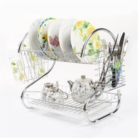 Wholesale kitchen dish drainer - 2 Tiers Kitchen Dish Cup Drying Rack Drainer Dryer Tray Cutlery Holder Organizer