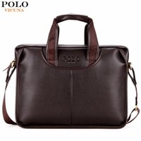 Wholesale Black Leather Laptop Briefcase - VICUNA POLO Classic Design Large Size Leather Briefcases Men Casual Business Man Bag Office Briefcase Bags Laptop Bag maletin