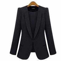 синие женские жакеты оптовых-Wholesale-New Fashion Style Summer Winter Blazer Jackets Slim Thin Blue Cardigan Outwear Coats Business Ladies Leisure Blaser Femme WDC458