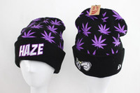 erkekler siyah beanie toptan satış-Yüksek Kalite Siyah HAZE Beanies sokak hip hop marka KUSH bere kapaklar Moda örme kadın erkek kasketleri şapkalar düşük fiyat
