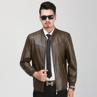 Wholesale 2019 New Autumn Men PU Leather Stand Collar Casual Men s Long Sleeve Jacket Men s Leather Spliced coat Legible DHL