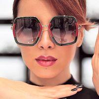 Wholesale Plastic Mirror Squares - Big Shiny Sunglasses For Women 2018 New Oversized Square G Red Green Brand Sun Glasses Designer Fashion Female Shades Oculos