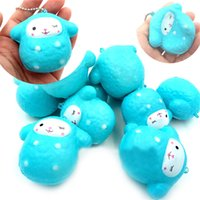Wholesale Funny Phones - Squishy Cartoon Sheep Blue Slow Rising Sheep Pendant Squeeze Cute Cell Phone Strap Small Animal Doll Funny Kids Toy AAA142