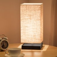 Wholesale Warm Desk - Minimalist Table Lamp Bedside Desk Lamp Nightstand Lamps with Solid Wood and Fabric Shade for Bedroom Living Room Kids Room Coffee Table