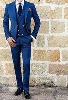 chaleco de novia de plata al por mayor-Royal Blue Three Pieces Tuxedos 2018 Custom Make Double Breasted Chaleco Tallas grandes para hombre Novios Formal Dinner Party Suit