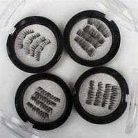 Wholesale magnet eye - 4Pcs Set Handmade 3D Double Magnetic Eyelashes on magnets Natural No-glue Fake Eye Lashes Brown Magnet False Eyelash Extension