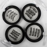 çift göz tutkalı toptan satış-Mıknatıslar üzerinde 4 Adet / takım El Yapımı 3D Çift Manyetik Kirpikler Doğal tutkal Sahte Göz Lashes Kahverengi Mıknatıs Yanlış Kirpik Uzatma