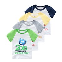 Wholesale Batman Tees - Brand Kids 2018 World Cup T Shirts Baby Boy Captain Batman Print Tee Top Cartoon Baby Clothing 100% Cotton Tops Children Summer Clothes
