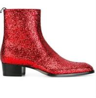 britische spitze zehe stiefel großhandel-2018 mode spitz männer leder stiefel Britischen stil glitter männer mode stiefel zip mujer bota pailletten rote booties