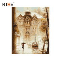 Wholesale wall street canvas - RIHE Rainy Street Diy Painting By Numbers Abstract House Oil Painting On Canvas Cuadros Decoracion Acrylic Wall Picture For Room