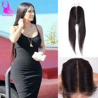 nudos de cierre del pelo de malasia al por mayor-2x6 Cierre de encaje en la parte media profunda Cierre de encaje suizo en estilo malasia Corto en estilo de la cutícula Kardashian Corte de cabello Medio marrón Nudos blanqueados