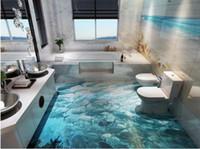 dauphins vivants achat en gros de-fond d'écran mur 3d Dolphin Surf Ocean World 3D Salle de bains Salon Carrelage de sol papier peint