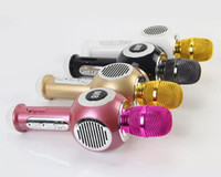 Wholesale ktv quality mic resale online - High quality USB Wireless Bluetooth Microphone KTV Karaoke Handheld Mic Speaker Wireless Microphone M8 for IOS Android Smartphone