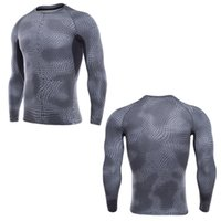 Wholesale Sportswear Fitness Wear - Men's Compression Shirt Long Sleeved Sportswear Fitness Clothing Tops Men's Black Fitness Wear Men's Quick-Dry High-Jump Training Tight