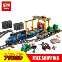 Wholesale toy bricks for children online - Lepin City Series The Cargo Train Set Model RC Building Blocks Bricks Toys for Children Christmas Gifts
