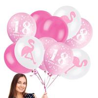 ingrosso decorazione del partito della piscina-12 pollici Flamingo Lattice Palloncino Ananas Foglia Compleanno Matrimonio Baby Shower Pool Party Decor 18 compleanno Rifornimenti del partito C4219