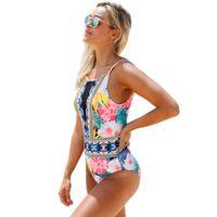 ingrosso bikini chic-2018 European Casual Bikini Chic Printing Grid Stitching Sexy Backless Swimwear One Piece 410096