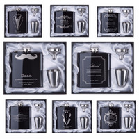 Wholesale wedding gift flask - 2017 discount Groomsman gift Personalized Engraved 6oz Hip Flask Stainless Steel With White & Black Box Gift Wedding Favors