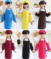 Wholesale kids baking aprons resale online - Kids Aprons Pocket Craft Cooking Baking Art Painting Kids Kitchen Dining Bib Children Aprons with hat and sleeves Kids Aprons colors